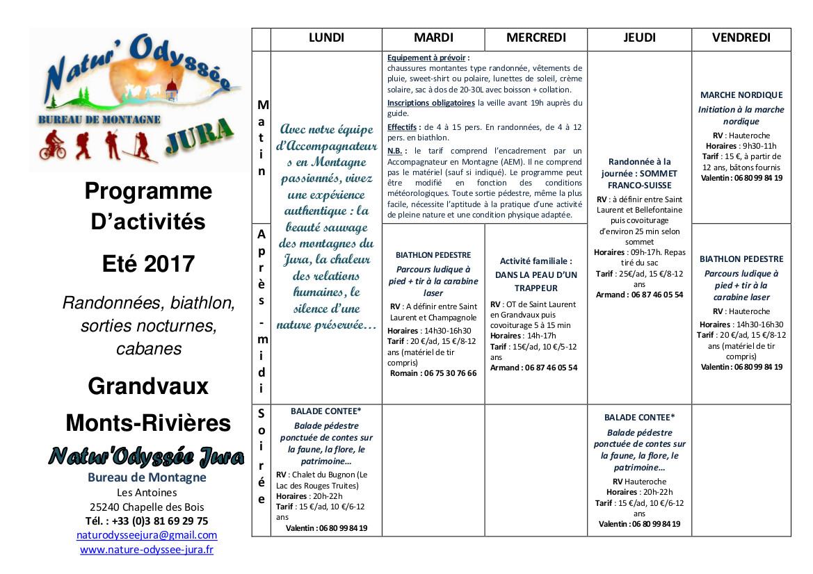 Programme de l'été 2017