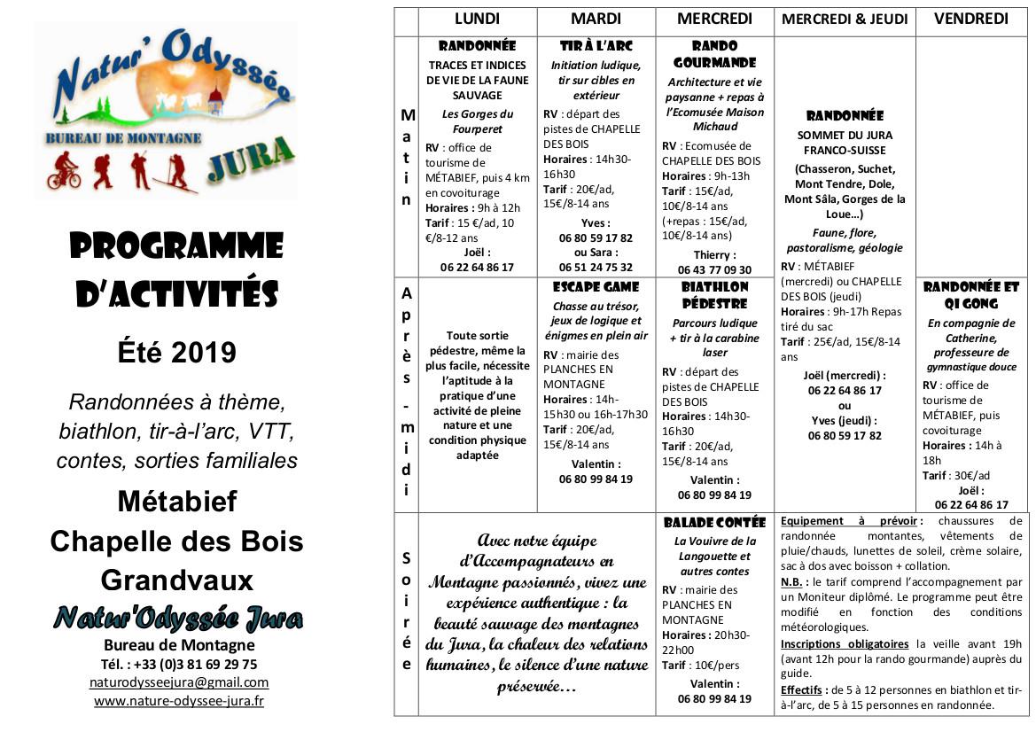 Programme de l'été 2019